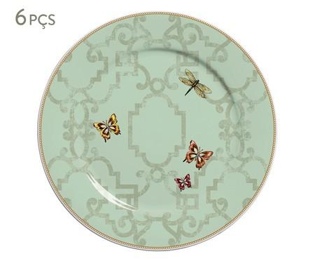 Jogo de Pratos Rasos Liberte em Cerâmica 06 Pessoas - Verde | WestwingNow