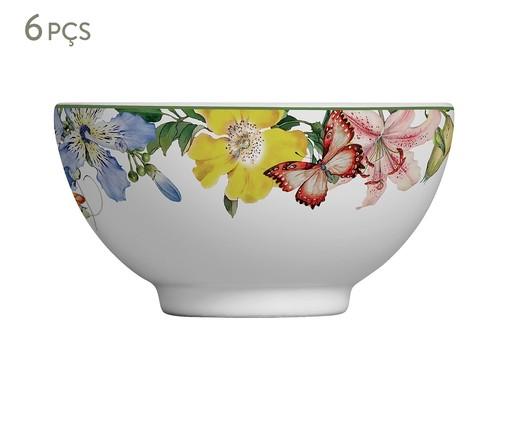 Jogo de Bowls em Cerâmica Papillon 06 Pessoas - Multicolorido, Branco | WestwingNow