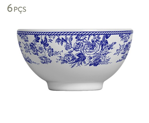 Jogo de Bowls em Cerâmica Blue Garden 06 Pessoas - Branco e Azul, Branco | WestwingNow