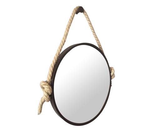 Espelho de Parede com Alça Adnet Liz - Marrom, Preto, Bege, Espelhado | WestwingNow