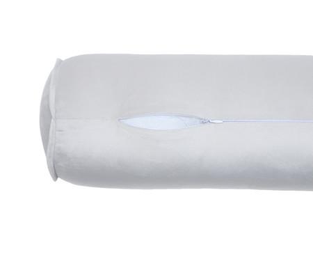 Almofada Rolinho em Veludo Solid - Gelo | WestwingNow