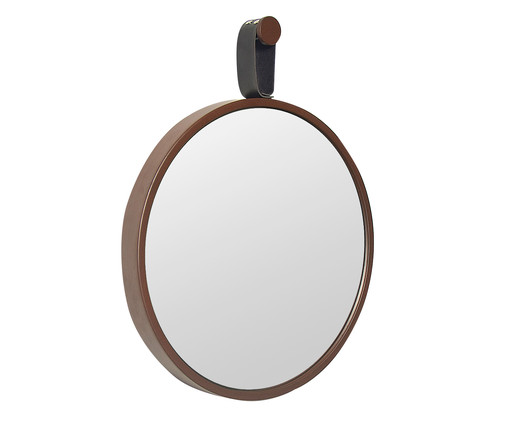 Espelho com Alça Round Effeil - Marrom e Preto, Marrom, Espelhado | WestwingNow