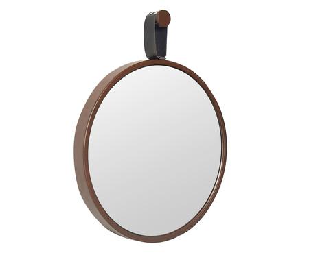Espelho com Alça Round Effeil - Marrom e Preto | WestwingNow