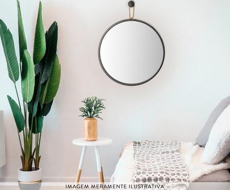 Espelho com Alça Round Effeil - Marrom e Caramelo | WestwingNow