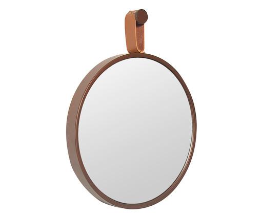 Espelho com Alça Round Effeil - Marrom e Caramelo, Prata | WestwingNow