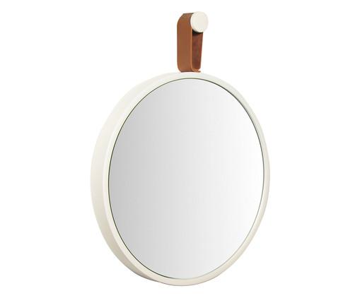 Espelho com Alça Round Effeil - Branco e Caramelo, Branco | WestwingNow