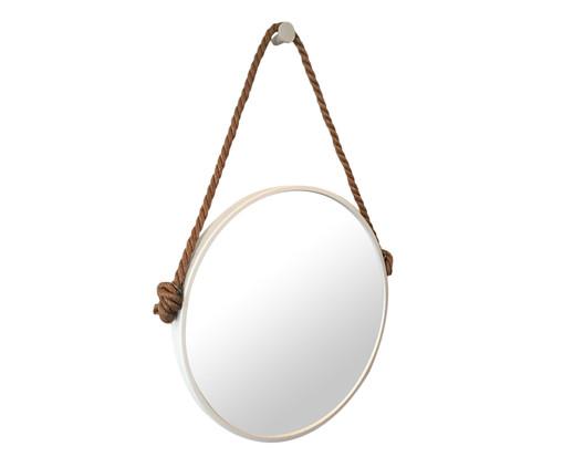 Espelho com Alça Adnet Rope - Branco e Café, Branco, Espelhado | WestwingNow