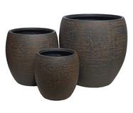 Jogo de Vasos de Piso em Resina Ienne - Marrom | WestwingNow