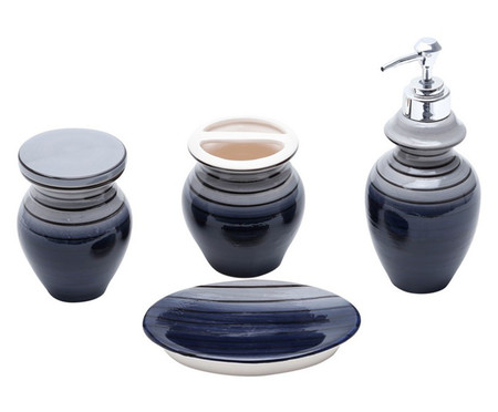 Jogo para Banheiro em Cerâmica Lidia -  Preto | WestwingNow