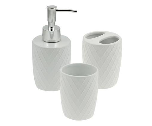 Jogo para Banheiro em Cerâmica Candice - Branco, Branco | WestwingNow