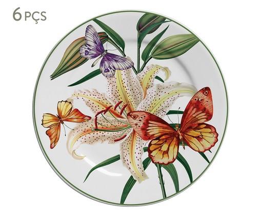 Jogo de Pratos para Sobremesa em Cerâmica Papillon 06 Pessoas - Multicolorido, Multicolorido | WestwingNow