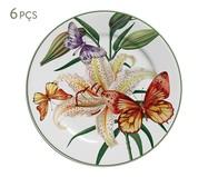 Jogo de Pratos para Sobremesa em Cerâmica Papillon 06 Pessoas - Multicolorido | WestwingNow