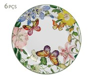 Jogo de Pratos Rasos Papillon em Cerâmica 06 Pessoas - Multicolorido | WestwingNow