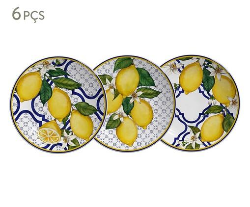 Jogo de Pratos para Sobremesa em Cerâmica Sicilia 06 Pessoas - Colorido, Azul,amarelo | WestwingNow
