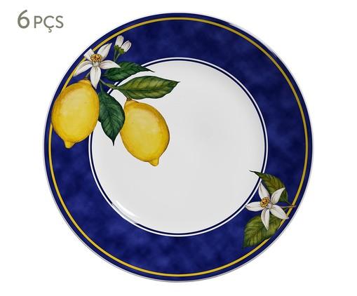 Jogo de Pratos Rasos em Cerâmica Sicilia 06 Pessoas - Azul, Azul,amarelo | WestwingNow