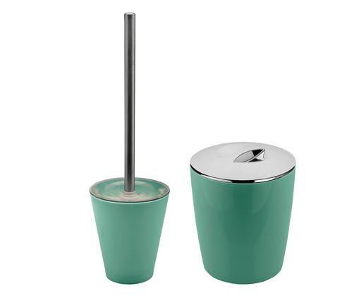 Jogo de Lixeira e Escova Sanitária Lorenzo Verde - 02 Peças, Verde   WestwingNow