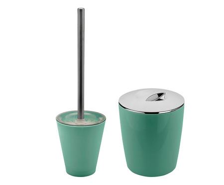 Jogo de Lixeira e Escova Sanitária Lorenzo Verde - 02 Peças | WestwingNow