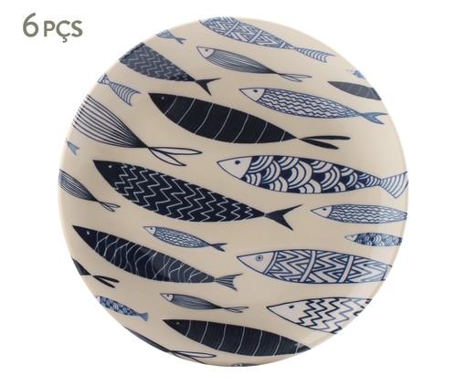 Jogo de Pratos para Sobremesa em Cerâmica Coup Al Mare 06 Pessoas - Azul, Azul | WestwingNow