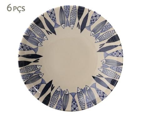 Jogo de Pratos Fundos em Cerâmica Coup Al Mare - Azul | WestwingNow