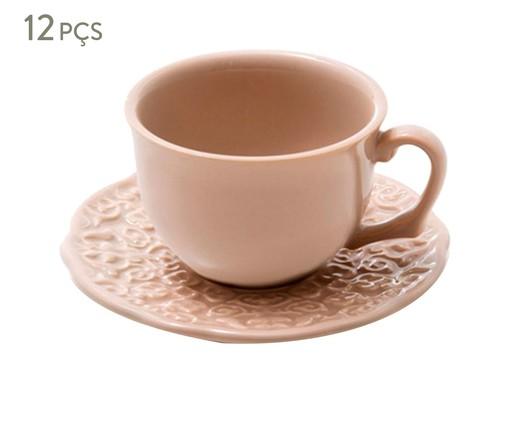 Jogo de Xícaras para Chá em Cerâmica Marrackech Noz Moscada 06 Pessoas - Rosa, Rosa | WestwingNow