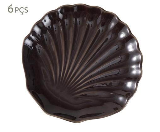 Jogo de Pratos para Sobremesa em Cerâmica Ocean Pimenta do Reino Panelinha 06 Pessoas - Marrom, Marrom | WestwingNow