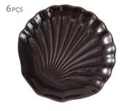 Jogo de Pratos para Sobremesa em Cerâmica Ocean Pimenta do Reino Panelinha 06 Pessoas - Marrom | WestwingNow