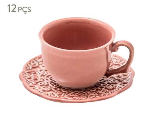 Jogo de Xícaras para Chá em Cerâmica Marrackech Pimenta Rosa 06 Pessoas - Rosa, Rosa   WestwingNow