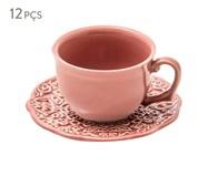 Jogo de Xícaras para Chá em Cerâmica Marrackech Pimenta Rosa 06 Pessoas - Rosa | WestwingNow