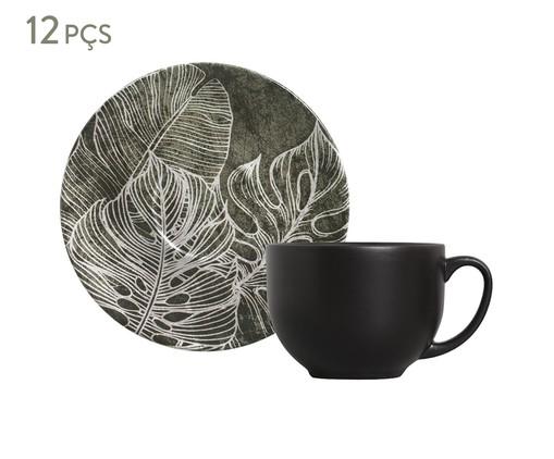 Jogo de Xícaras para Chá em Cerâmica Coup Herbarium 06 Pessoas - Verde e Preto, Verde | WestwingNow