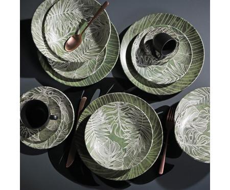 Jogo de Xícaras para Café em Cerâmica Coup Herbarium - Verde e Preto   WestwingNow