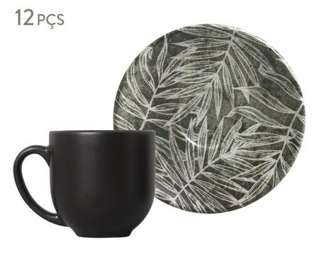Jogo de Xícaras para Café em Cerâmica Coup Herbarium - Verde e Preto | WestwingNow