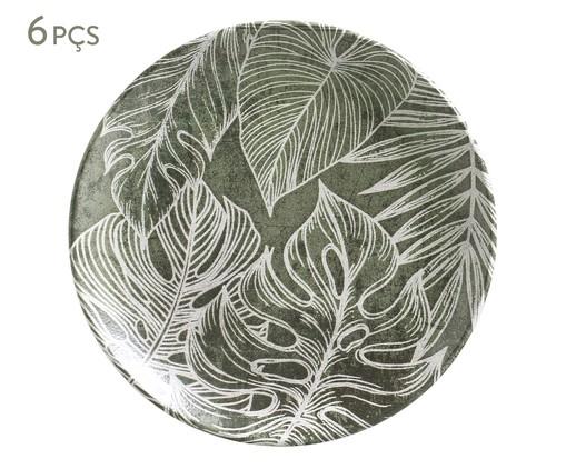 Jogo de Pratos para Sobremesa em Cerâmica Coup Herbarium 06 Pessoas - Verde e Branco, Verde   WestwingNow