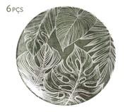 Jogo de Pratos para Sobremesa em Cerâmica Coup Herbarium 06 Pessoas - Verde e Branco | WestwingNow