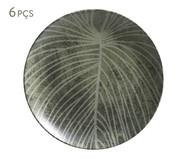 Jogo de Pratos Rasos em Cerâmica Coup Herbarium 06 Pessoas - Verde e Branco | WestwingNow
