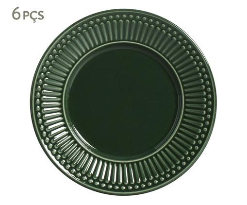 Jogo de Pratos para Sobremesa em Cerâmica Roma Botânico 06 Pessoas - Verde, Verde   WestwingNow