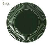 Jogo de Pratos para Sobremesa em Cerâmica Roma Botânico 06 Pessoas - Verde | WestwingNow