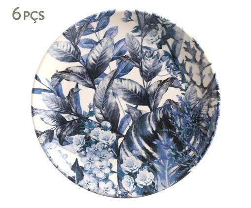 Jogo de Pratos para Sobremesa em Cerâmica Coup Blue Garden 06 Pessoas - Azul, Azul | WestwingNow