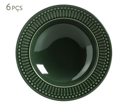 Jogo de Pratos Fundos em Cerâmica Roma Botânico 06 Pessoas - Verde, Verde   WestwingNow