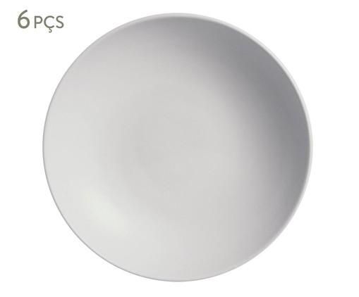 Jogo de Pratos Fundos em Cerâmica Stoneware Vit - Branco, Bege   WestwingNow