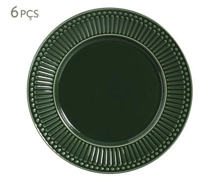 Jogo de Pratos Rasos em Cerâmica Roma Botânico 06 Pessoas - Verde | WestwingNow