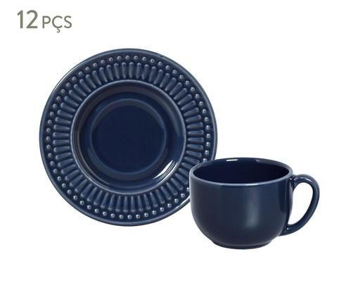 Jogo de Xícaras para Chá em Cerâmica Roma Deep Blue 06 Pessoas - Azul, Azul | WestwingNow