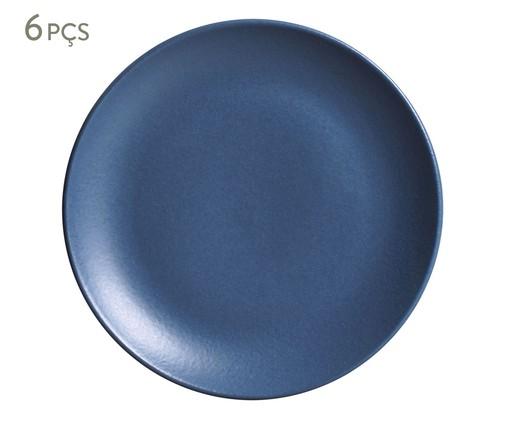 Jogo de Pratos para Sobremesa em Cerâmica Stoneware Boreal 06 Pessoas - Azul, Azul   WestwingNow