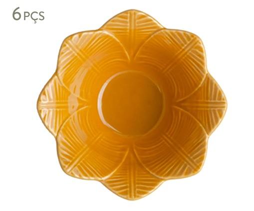 Jogo de Bowls em Cerâmica Leaves Curry 06 Pessoas - Amarelo, Amarelo   WestwingNow
