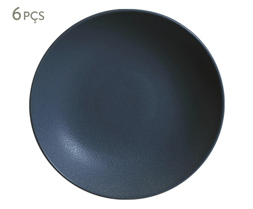 Jogo de Pratos Fundos em Cerâmica Stoneware Boreal - Azul, Azul   WestwingNow