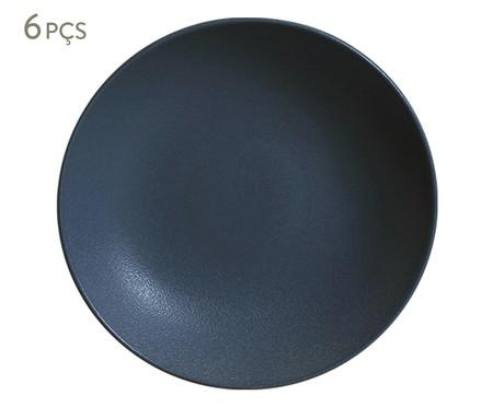 Jogo de Pratos Fundos em Cerâmica Stoneware Boreal - Azul | WestwingNow