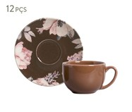 Jogo de Xícaras para Chá em Cerâmica Coup Bonjour 06 Pessoas - Marrom | WestwingNow
