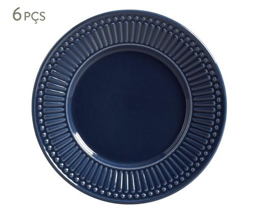 Jogo de Pratos para Sobremesa em Cerâmica Roma Deep Blue 06 Pessoas - Azul, Azul   WestwingNow