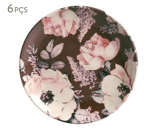 Jogo de Pratos para Sobremesa em Cerâmica Coup Bonjour 06 Pessoas - Colorido, Marrom | WestwingNow