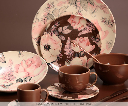 Jogo de Pratos para Sobremesa em Cerâmica Coup Bonjour - Marrom | WestwingNow