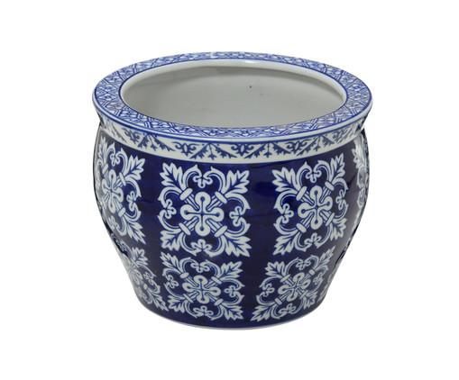 Cachepot em Porcelana Malka - Azul e Branco, Branco, Azul | WestwingNow